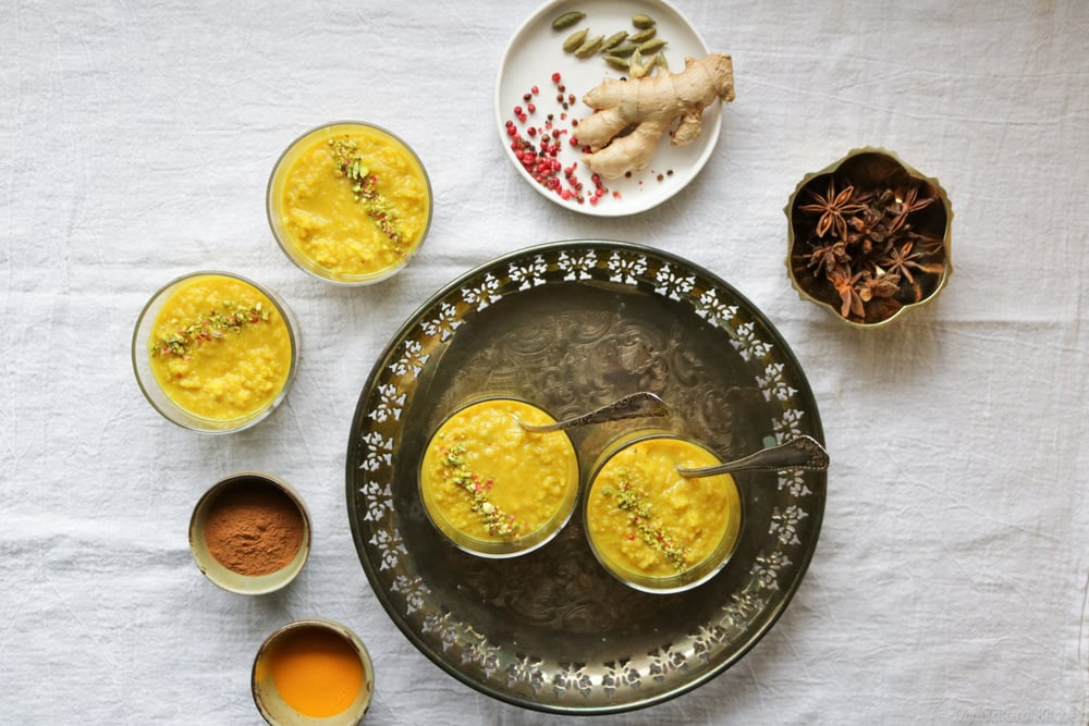 golden rice pudding with turmeric, ginger + pink peppercorns (gf, v) @mynaturalkitchen