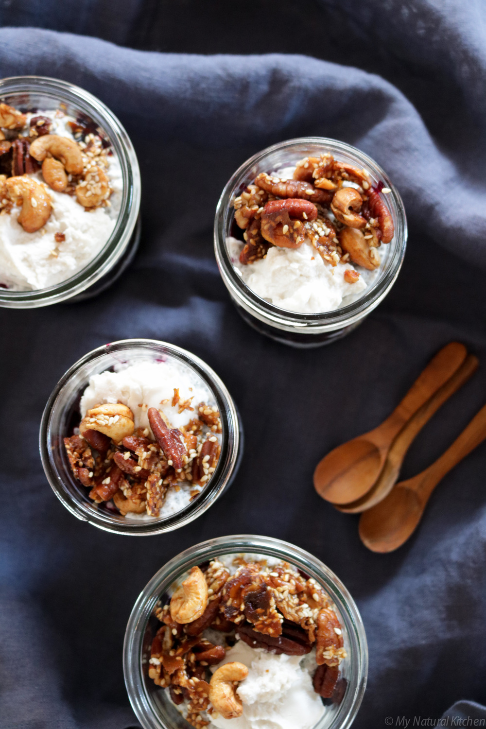 blueberry chia parfaits with crunchy pecan clusters (gluten free, vegan, paleo) by my natural kitchen