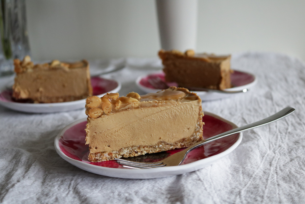 peanut butter ice cream cake with peanut butter honey caramel (gluten free, vegan, paleo option) by my natural kitchen