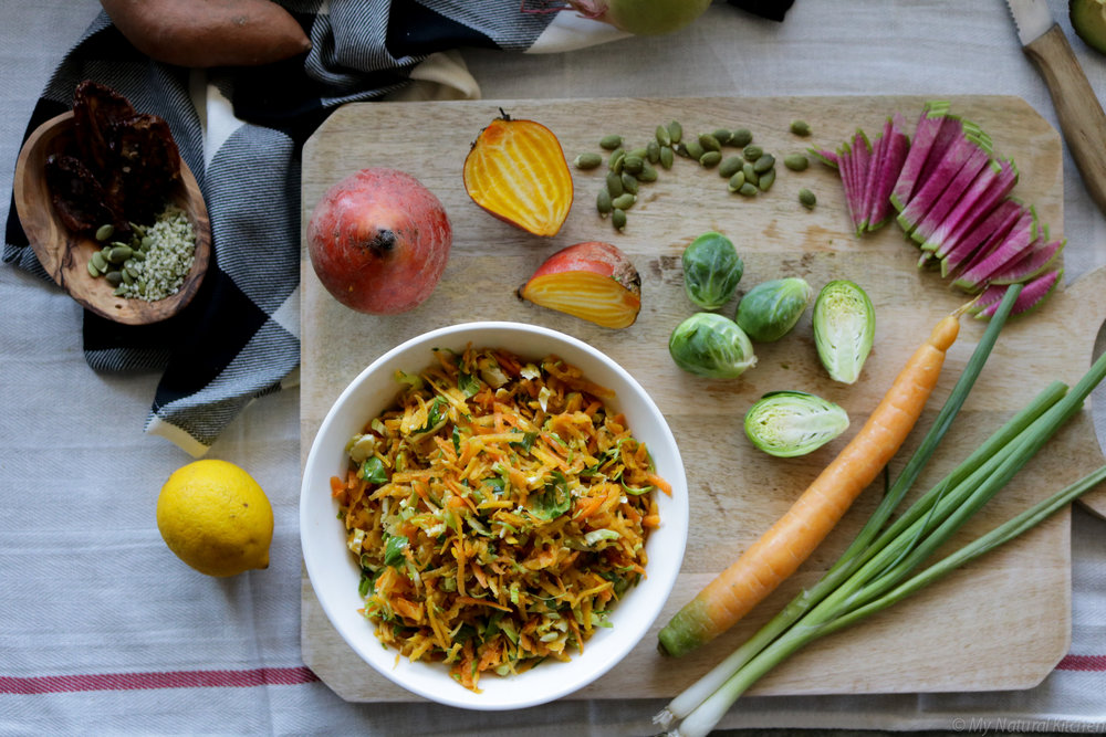 The Glowing Salad Bowl with Golden Beet Slaw + Zingy Carrot Poppyseed Dressing (gluten free, vegan, paleo) by My Natural Kitchen