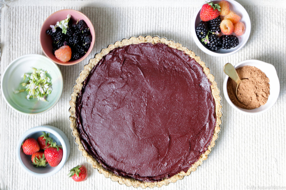 purple sweet potato chocolate tart with almond cookie crust (gluten free, vegan) by My Natural Kitchen