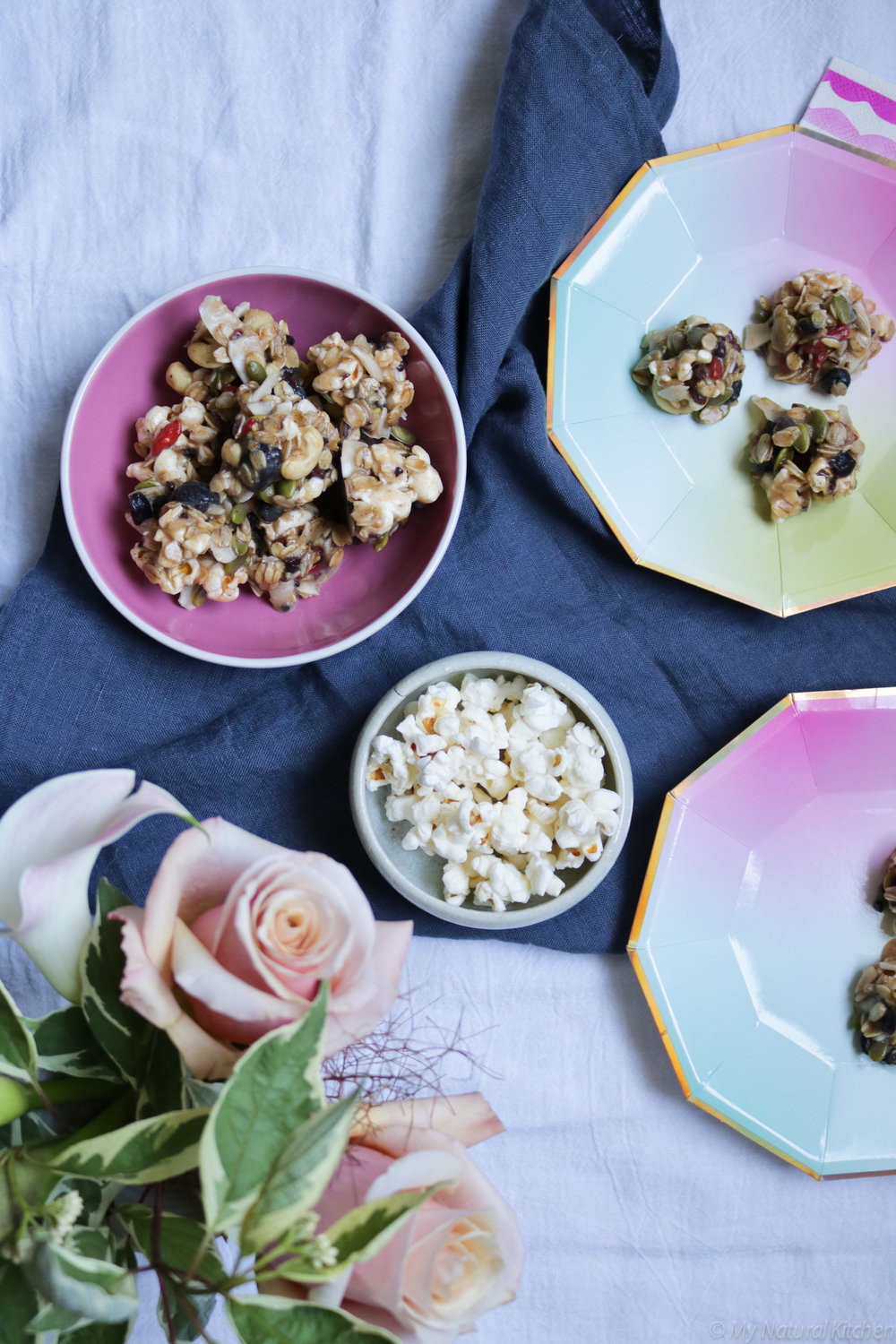 no-bake trail mix popcorn clusters from My Natural Kitchen #glutenfree #vegan