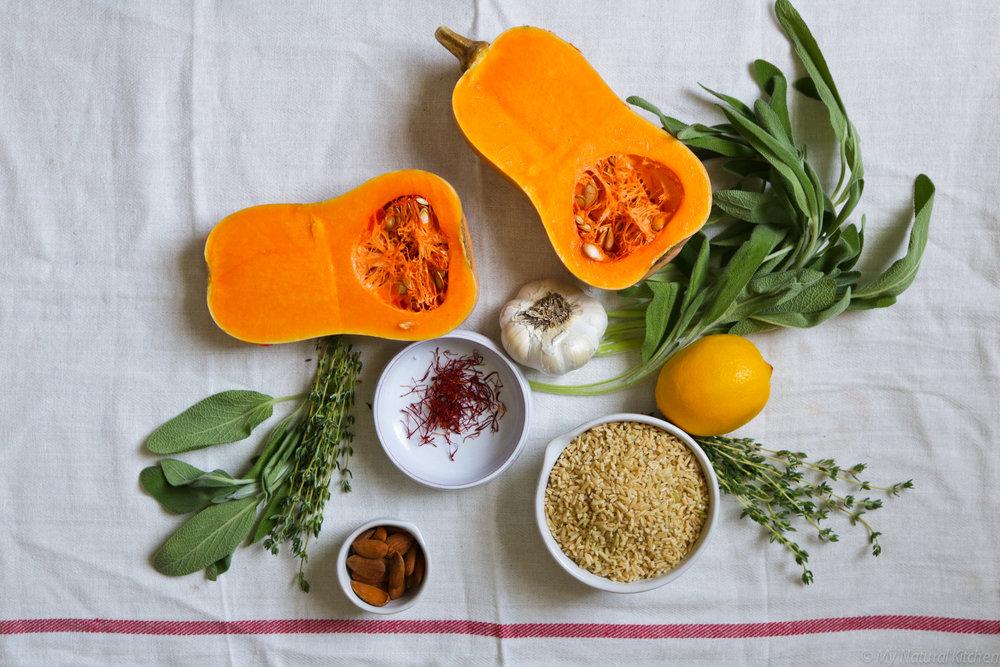 Caramelized Squash with Saffron Rice & Sage Gremolata