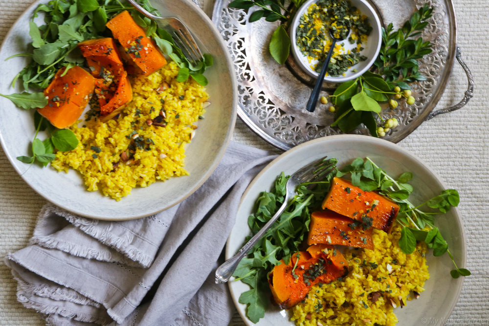 Caramelized Squash with Saffron Rice & Sage Gremolata by My Natural Kitchen #glutenfree #vegan #dairyfree