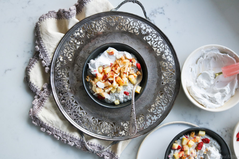 Roasted Apple Chia Parfaits with Rose Honey & Coconut Whip - these plantbased, gluten-free, dairy-free & grain-free breakfast parfaits are a healthy source of fibre, protein, fat and so many nutrients. Find the recipe at www.mynaturalkitchenblog.com