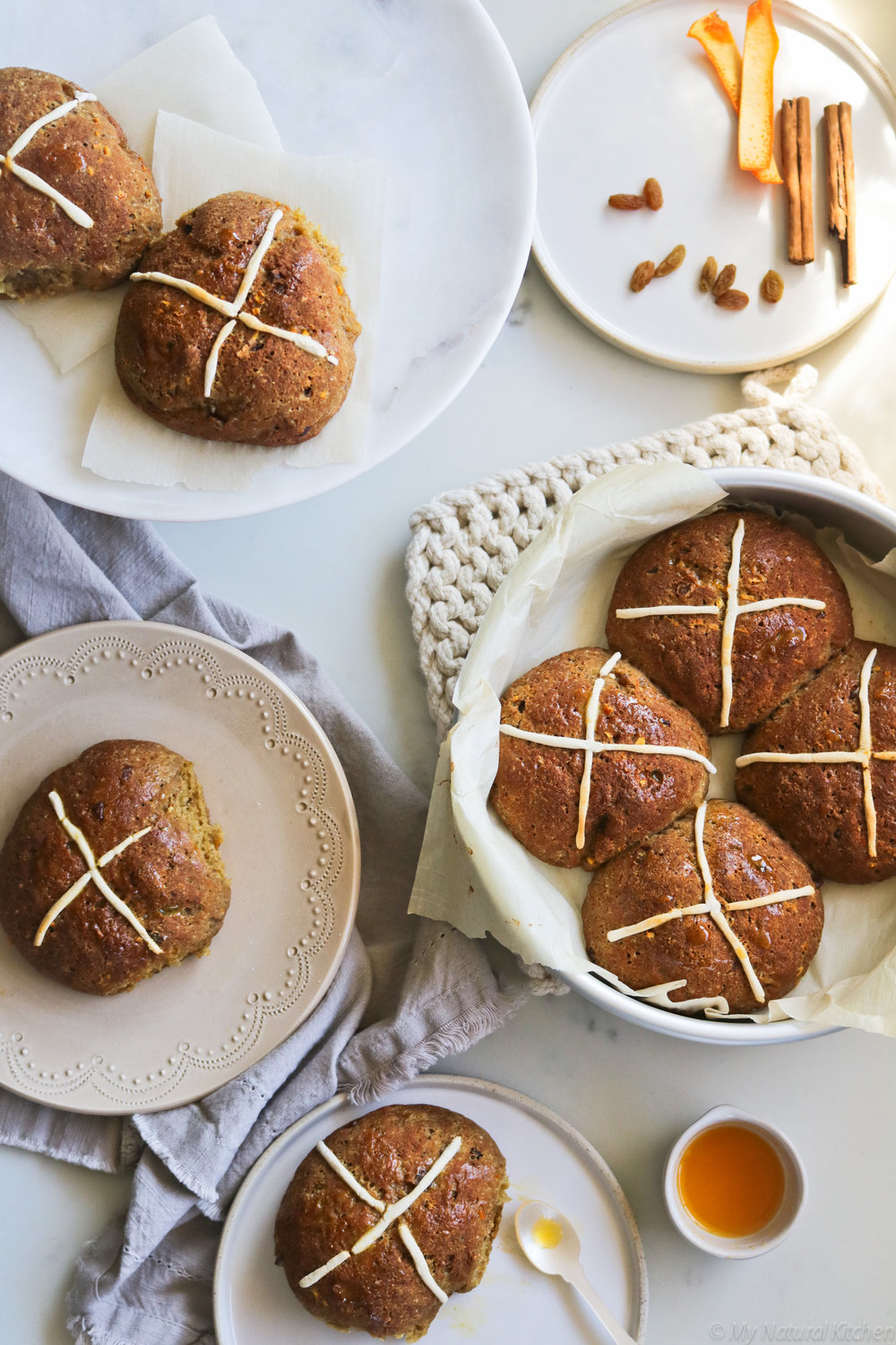 Gluten Free Hot Cross Buns by My Natural Kitchen #glutenfree #vegan #dairyfree #mynaturalkitchen