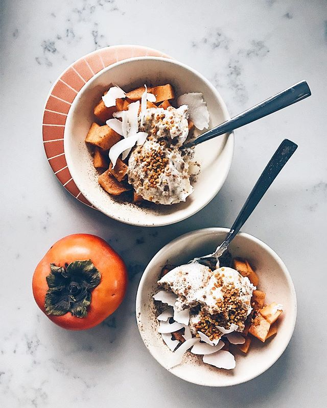 loving these late, slow, quiet mornings lately ✨persimmon & coconut yogurt bowls, with coconut flakes, bee pollen, and a tiny drizzle of maple syrup!