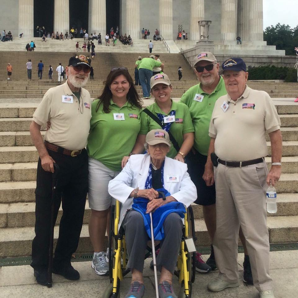 Cardinal Roofing and our vets on the steps of the Lincoln Memorial