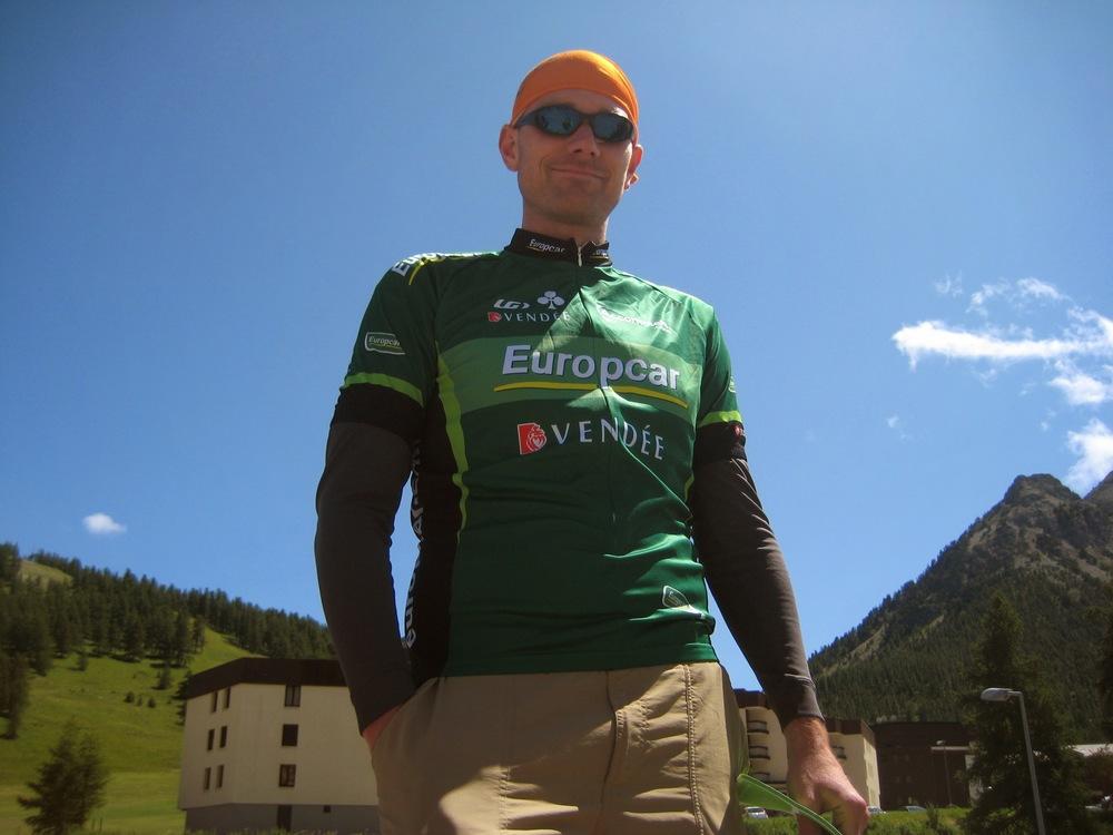 Ben at the 2011 Tour de France, awaiting the peleton.