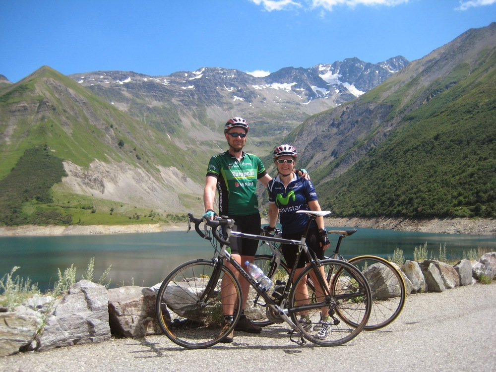 Ben and his wife, Liz, on non-orange rental bikes, ascending the Col de la Croix de Fer in the French Alps.