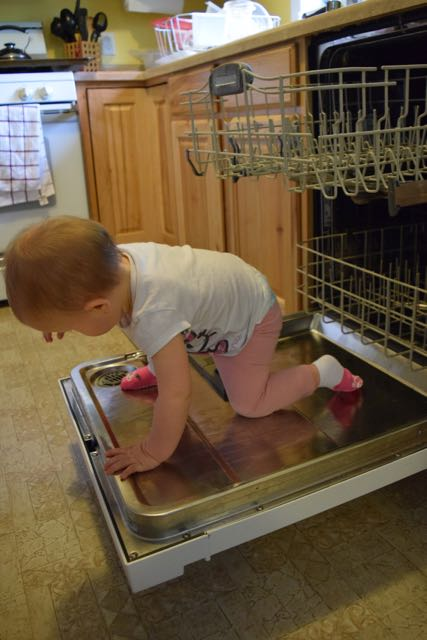 Eliora Helps with Dishes