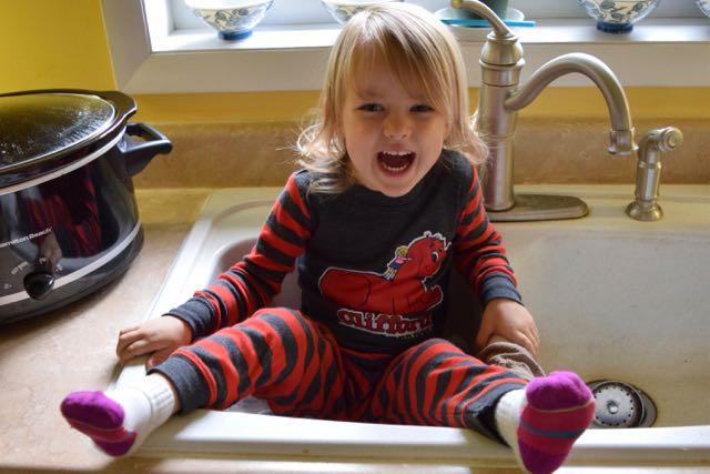 Um...Sitting in the Sink