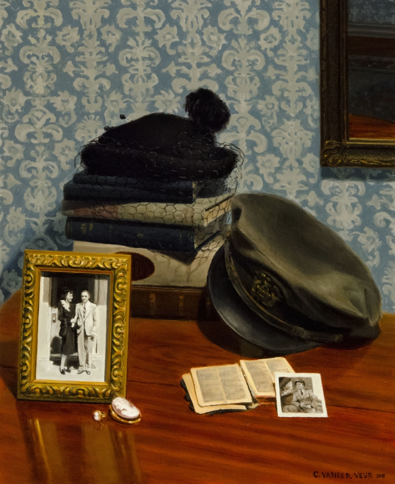 This still life is representative of my mom's parents, Afton Romney and Alvin Charles Soderborg. My grandpa served in the navy in WWII so I included his officer's hat, as well as his pocket sized New Testament and a photo of him in the same hat and uniform. While traveling in Italy with the navy he bought a cameo silhouette brooch and ring that he later gave to my grandma. The framed photo shows the couple on their wedding day in 1947. My grandma is wearing the same hat shown in the stack of books in the back. My grandpa loved to read, hence the books, and the mirror on the wall hung in my grandparents' home for many years.