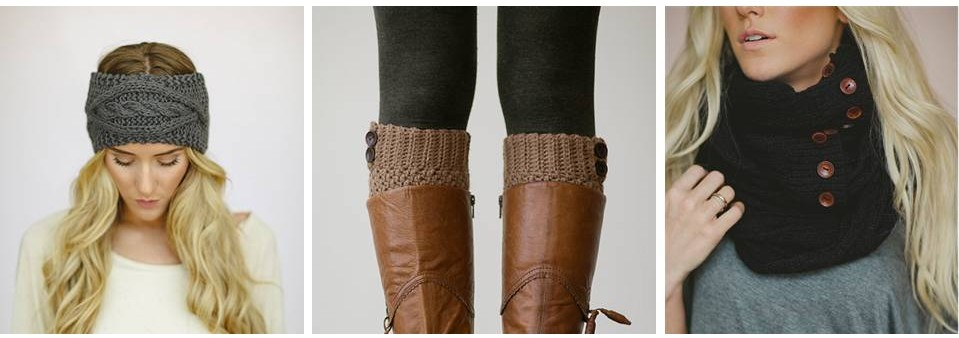 headband   /   faux boot cuffs   /   infinity scarf