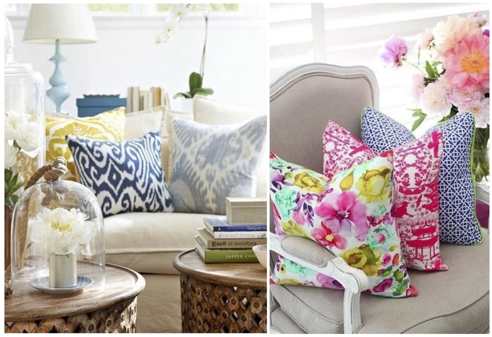 One of the easiest ways to add a nice pop of color is changing up the throw pillows on sofas and chairs.