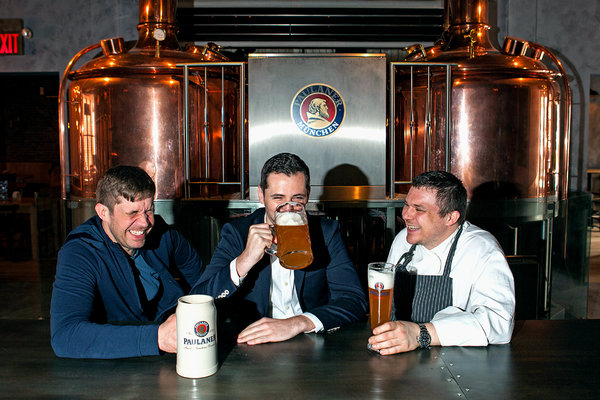 From left: Wolfgang Ban, Markus Tschuschnig and Daniel Kill of Paulaner.CreditDanny Ghitis for The New York Times