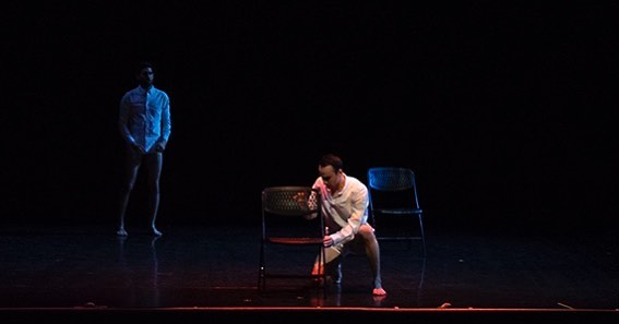 "A Year Of Production Photos - Day 362: Artists Who Innovate: ""LOVE ALONE: initial study"" At @sopacnow Choreography by @dancetactics Performed by Shawn Brush & Sean Landlord Photo by @courtkweill #lightingdesign #lighting #dance #dancelighting #theatre #theatrelighting #designer #AYOPP"