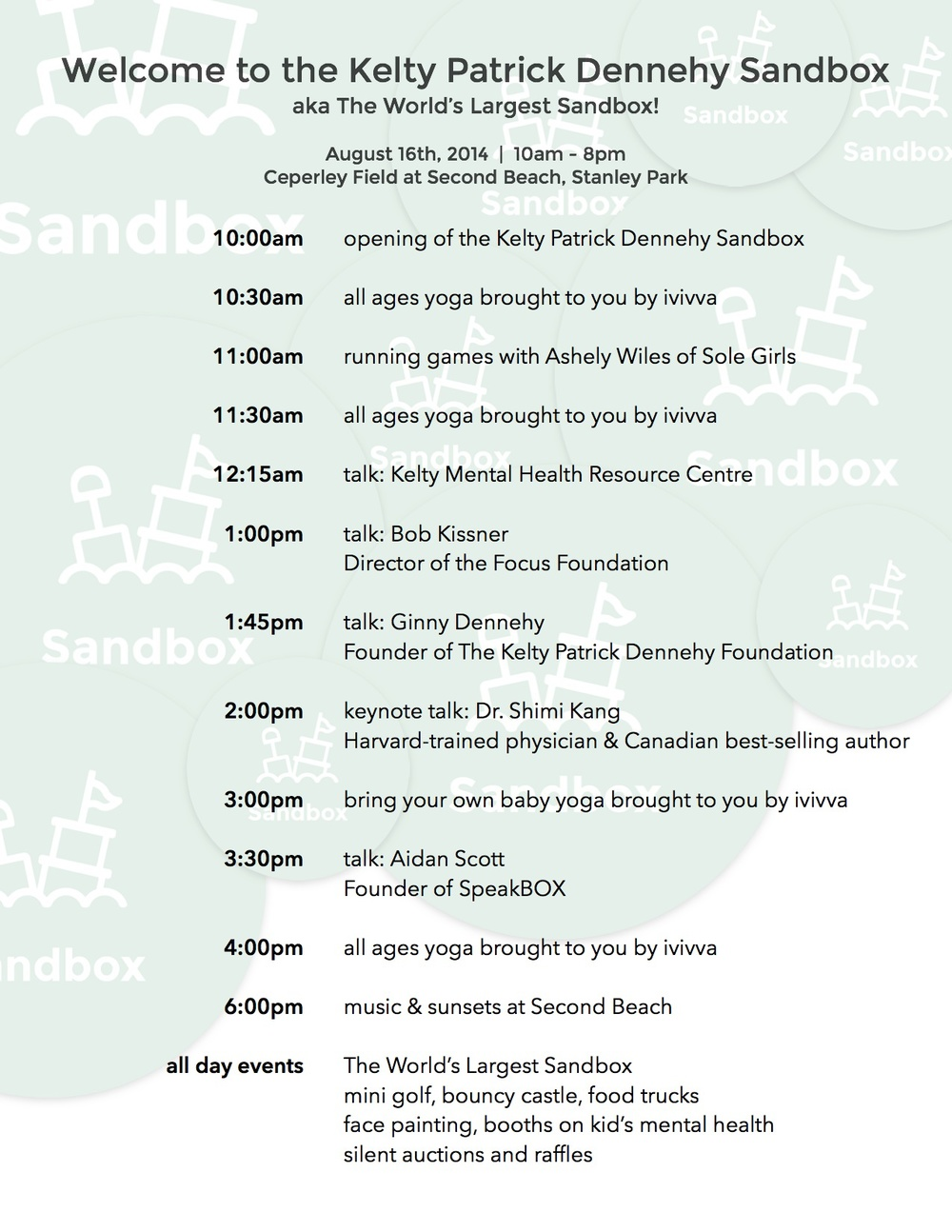 Hello Sandbox Itinerary