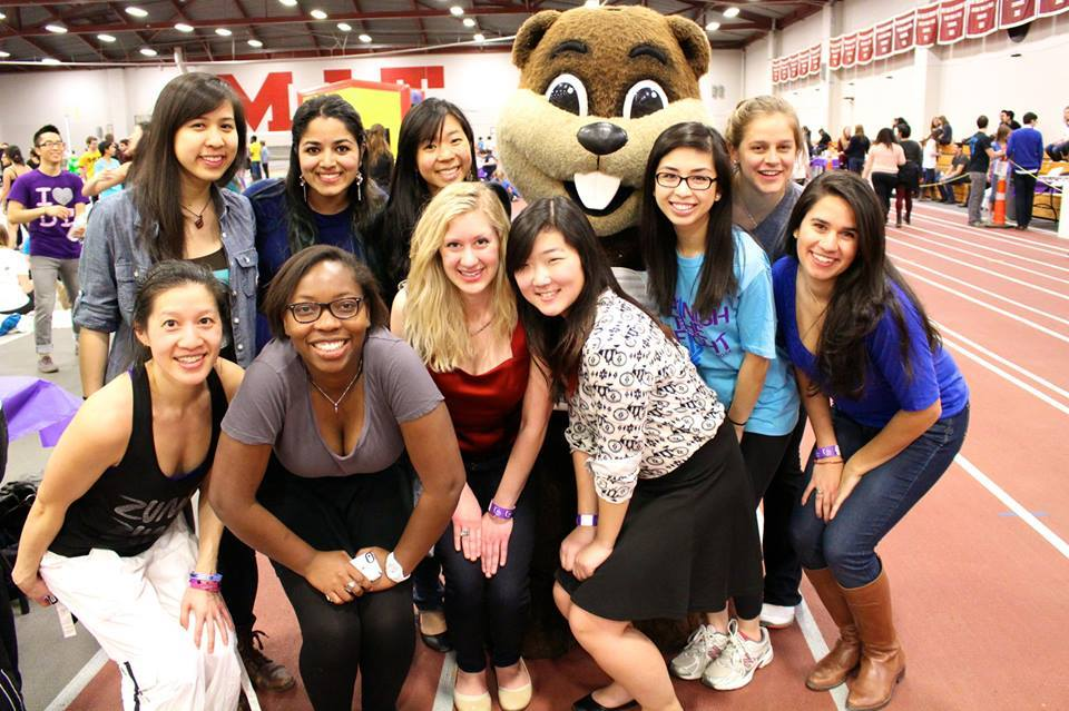 Thetas at Relay for Life 2014 with Tim the Beaver.