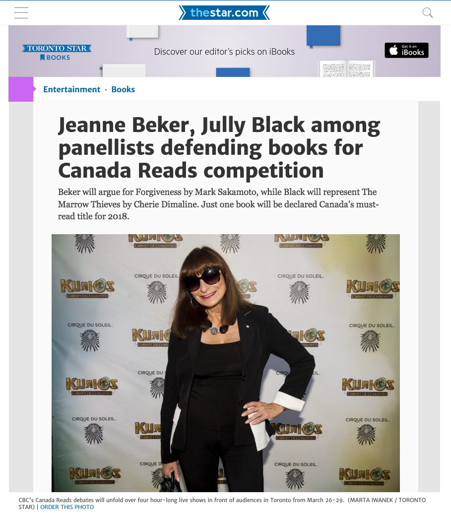 Canadian Press, Jeanne Beker argues for Forgiveness, January 30, 2018