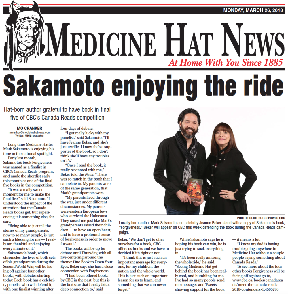 Medicine Hat News,  March 26, 2018