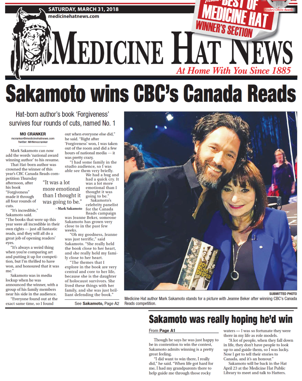 Medicine Hat News , March 31, 2018