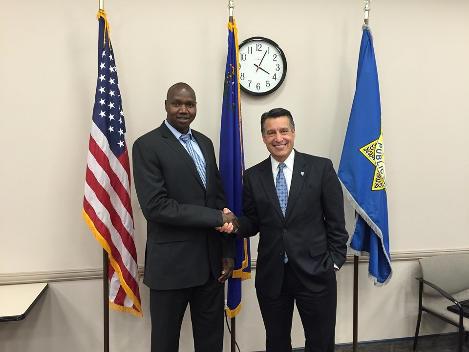 With Nevada Governor, Brian Sandoval. Biar shared his story at the Nevada Commission on Homeland Security Meeting. 12.2.15