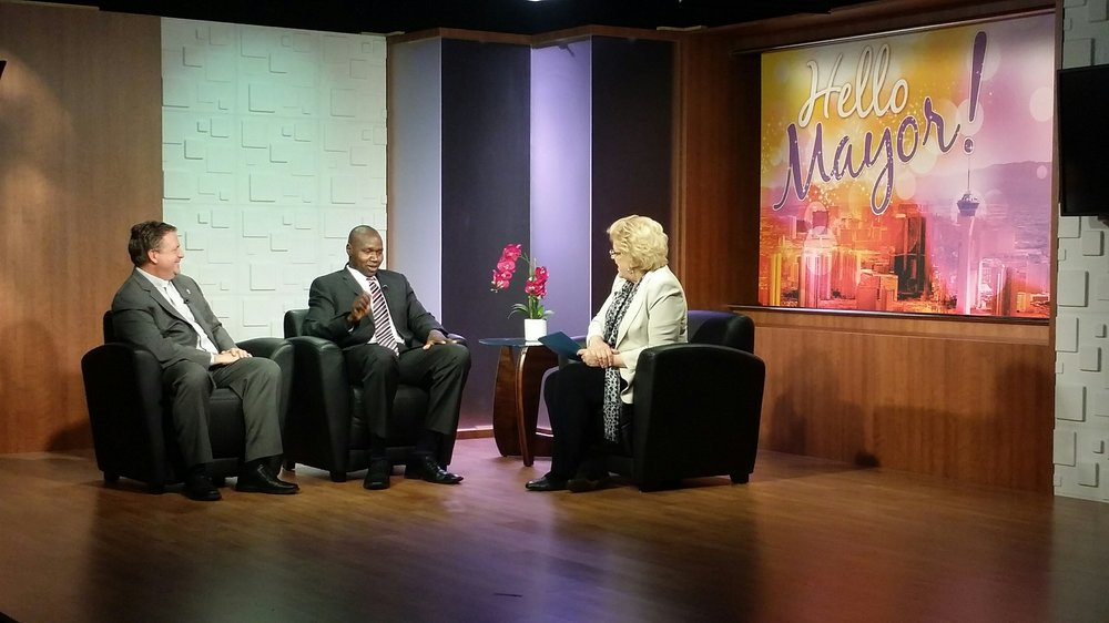 Biar and Catholic Charities President & CEO, Deacon Thomas Roberts on Hello Mayor! TV show with Mayor Carolyn Goodman 5.9.16