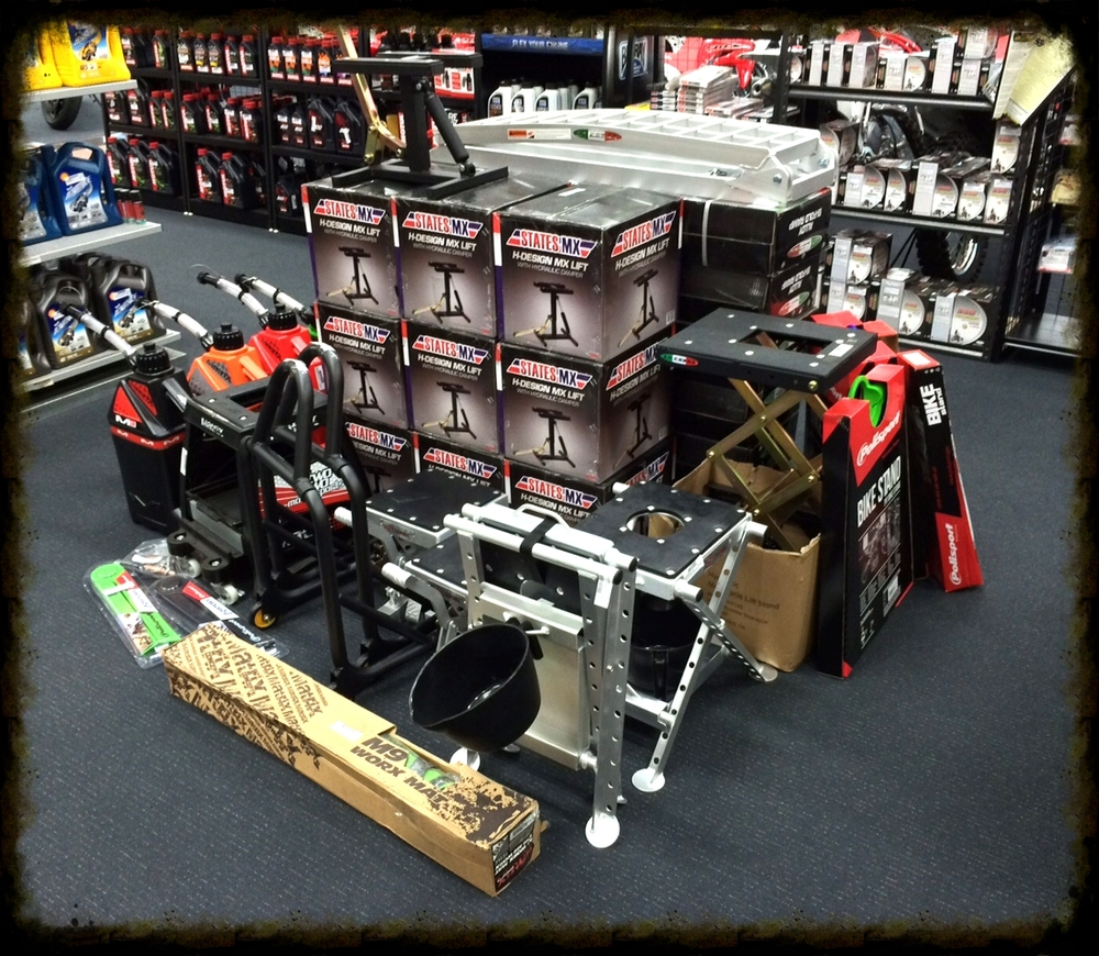range of mx lifts & stands and road bike paddock stands - we carry a wide range in stock