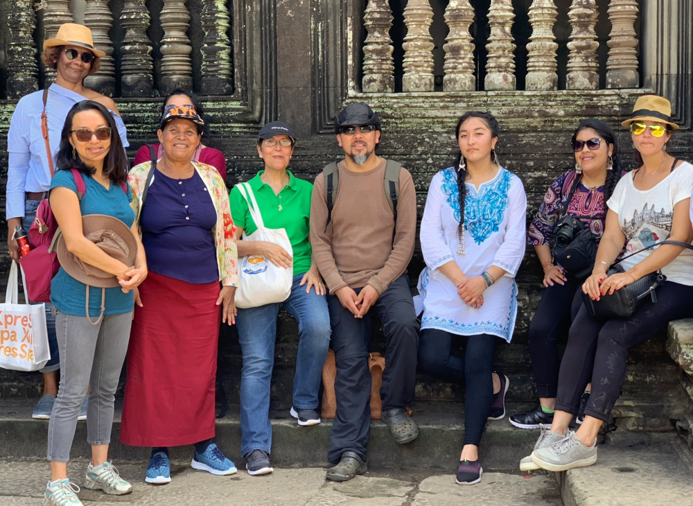 Photo 1.  The delegation to Cambodia with members from the Mapuche community of Llaguepulli: Fernando Quilaqueo (center), Kelv Painefil (to his left), and Fresia Painefil (second from right), October 2018.
