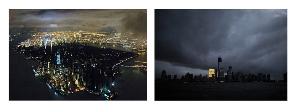 Manhattan After Hurricane Sandy.  Left: Iwan Baan.  Right: Reuters