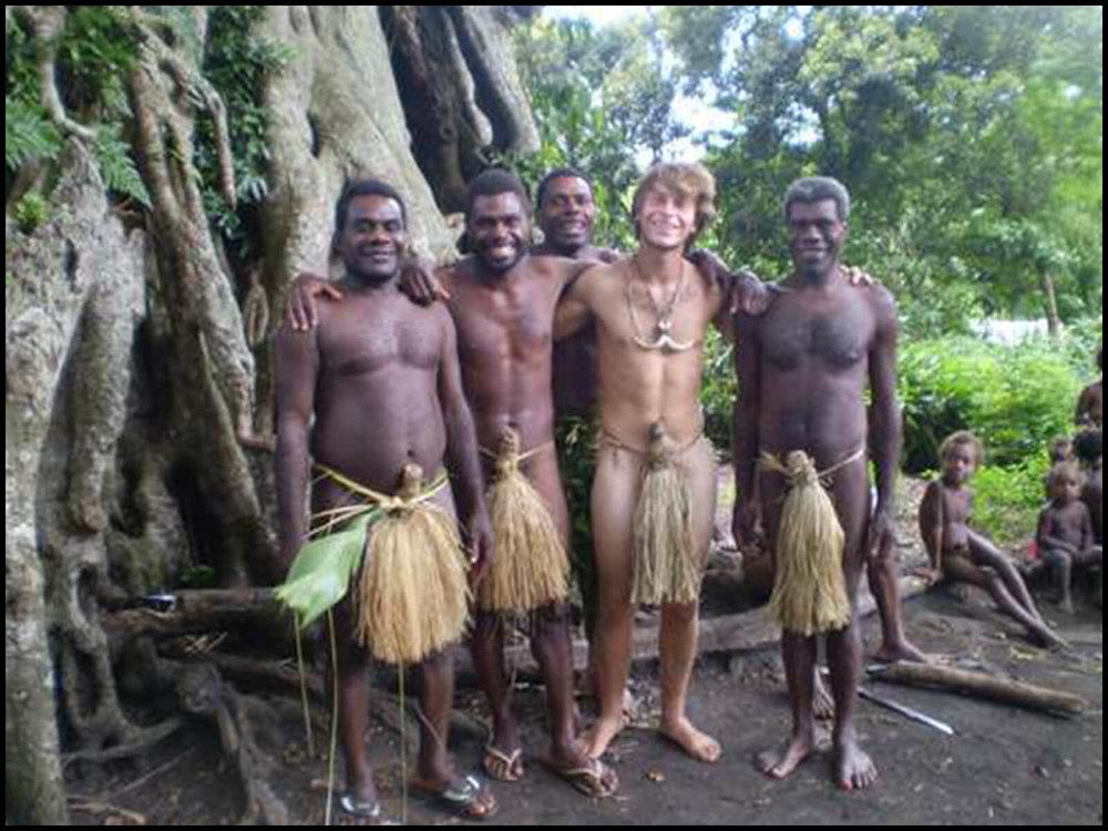 Wah, second right, in Vanuatu.