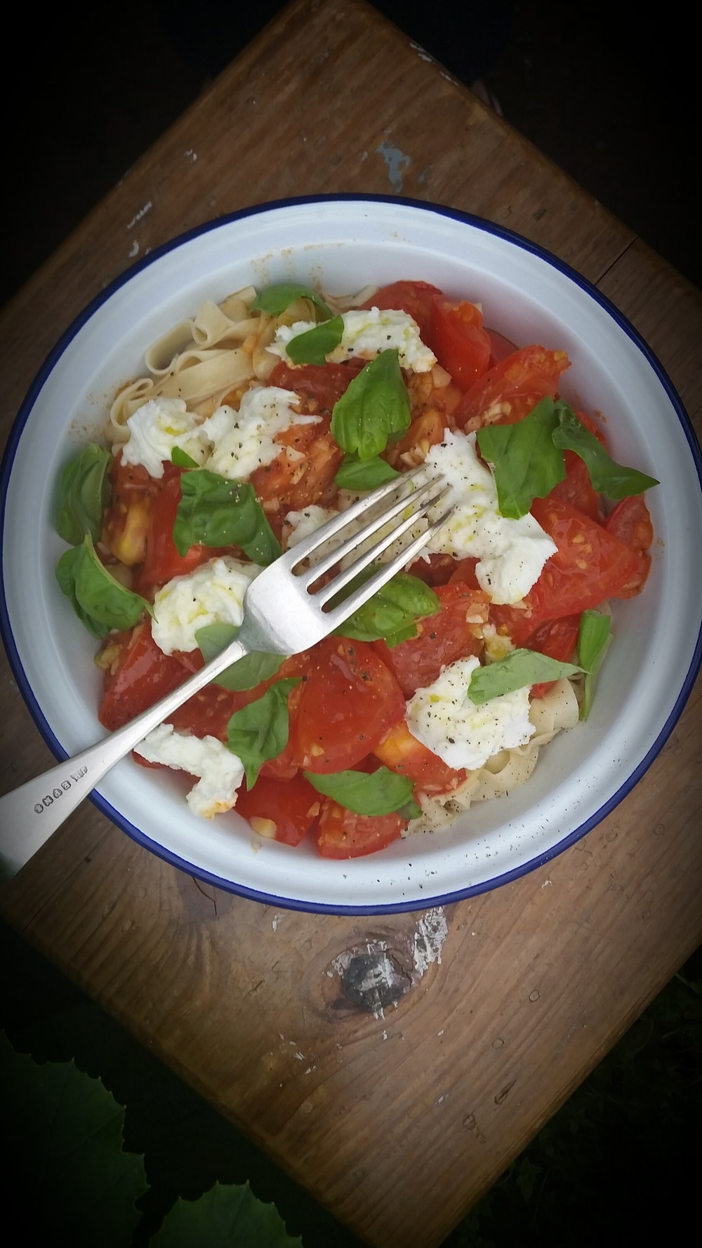 home made tagliatelle buffalo mozzarella home grown tomatoes & basil