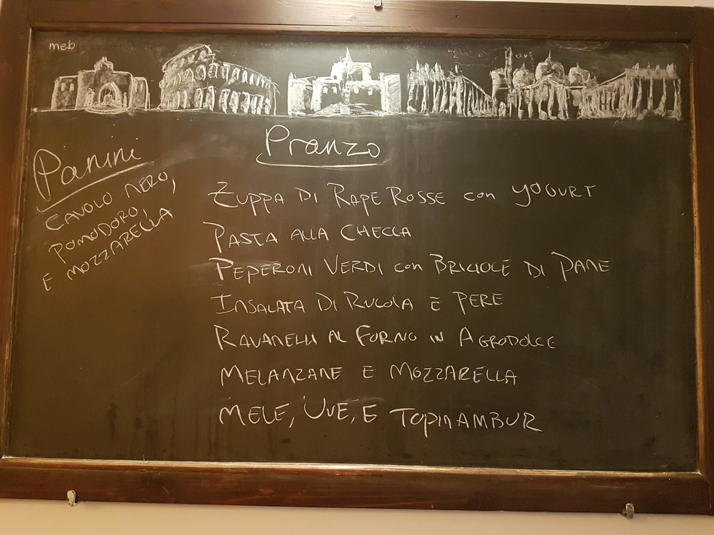 Uno Pranzo Tipico - a typical lunch menu.