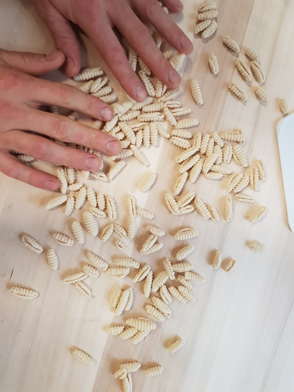 Gnochetti di Sardi -hand made with just water + flour.
