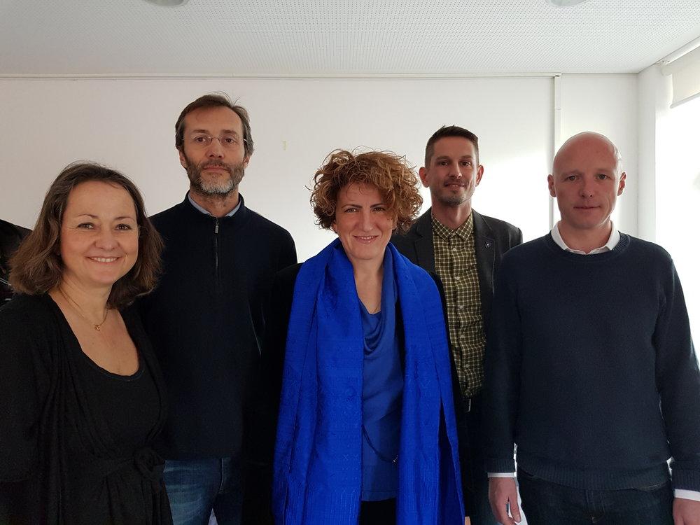 da sinistra: Claudia Crivelli Barella, Marco Noi, Samantha Bourgoin, Andrea Stephani e Nicola Schoenenberger