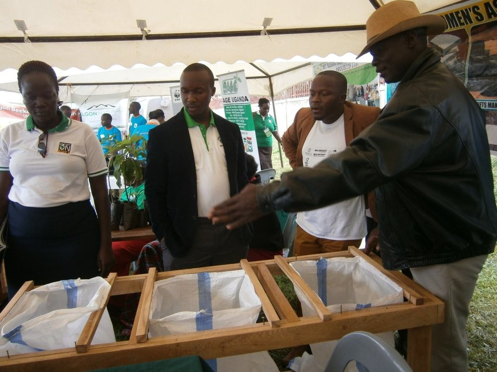 Waste collection bags made by our carpentry trainees. One of the trainees was explaining to the guests how the concept works