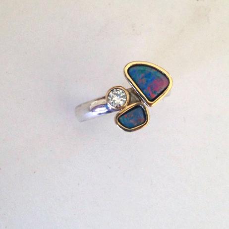 Australian Opal and Diamond Dress Ring