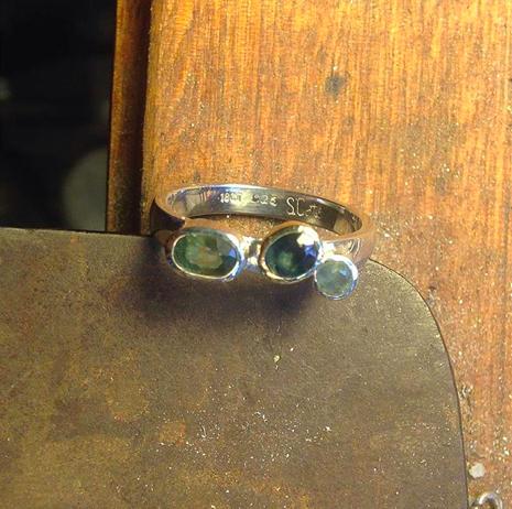 "Australian Sapphire ""Wonky"" Three Stone Ring"
