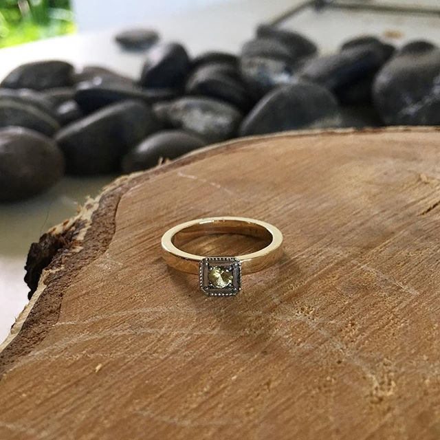 Sunshine in a ring! Cute little yellow sapphire and gold ring heading your way @arborbrunswick