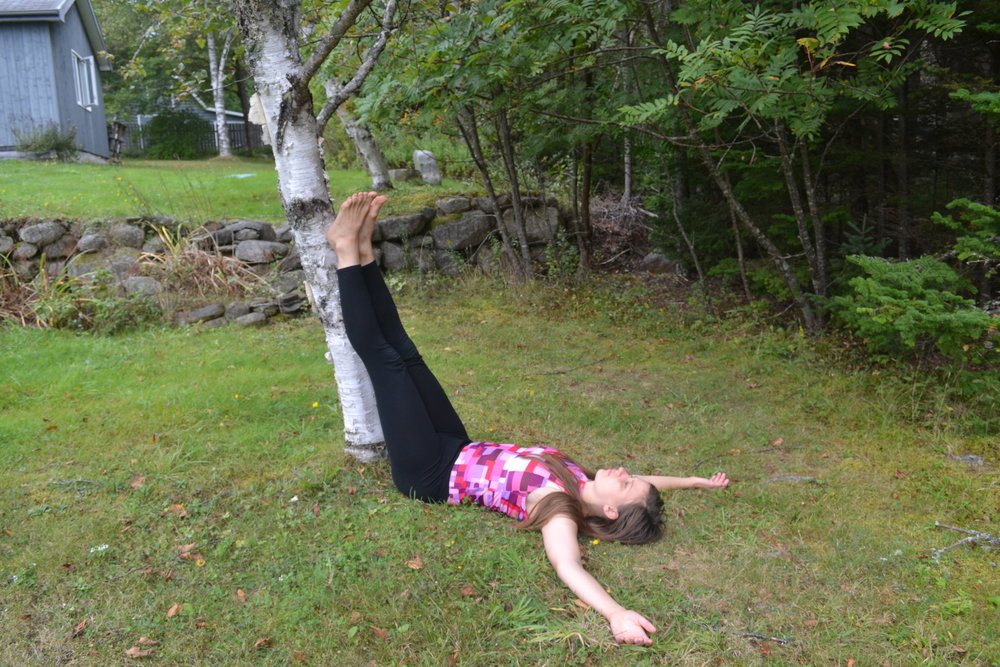 """Legs up the tree commonly known as """"legs up the wall"""" works well inside as well"""