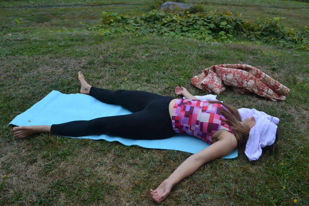 Spend ~ 10 minutes or more in Savasana. Place a scarf over your eyes for a DIY eyebag. You will receive all the benefits of relaxing your closed eyes under the weight of the scarf. Enjoy the darkness that your eye cover gives you