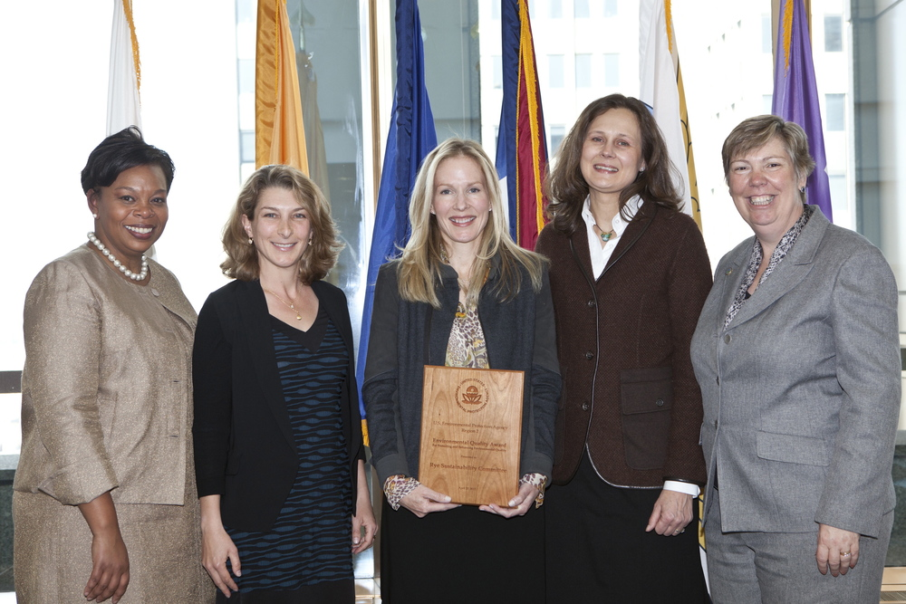 Members of the Rye Sustainability Committee receiving the 2012 EPA Environmental Quality Award