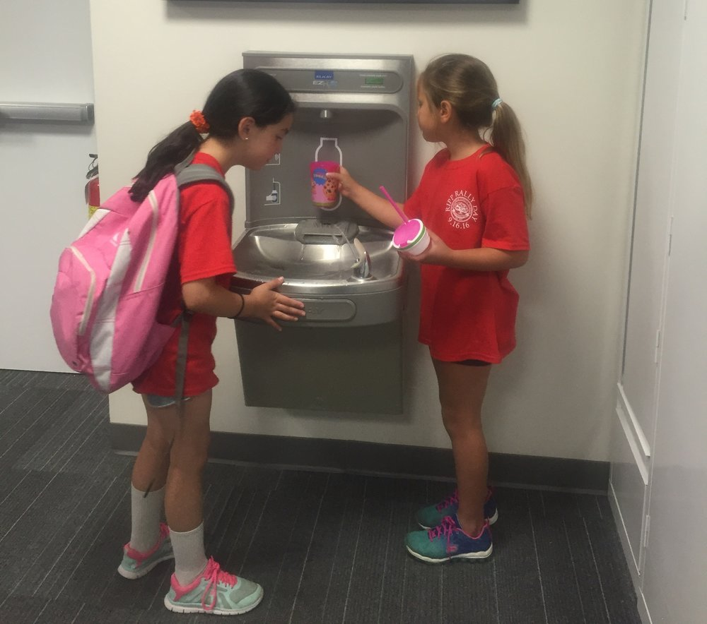 """I have to bring my water bottle to school every day. It is the rule. So we love refilling them and seeing the number of plastic bottles we have saved."" (Meredith Bartlett, 3rd Grader at Rippowam Cisqua School)"