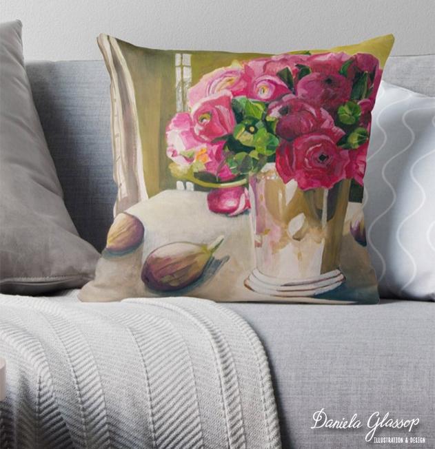 Ranunculus-With-Figs-RedbubbleCushion ©Daniela Glassop