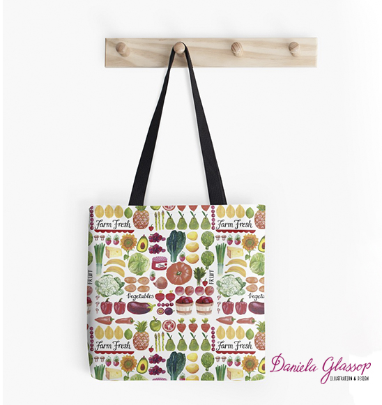 Farm Fresh ©Daniela Glassop - Redbubble • Fabric available at Spoonflower
