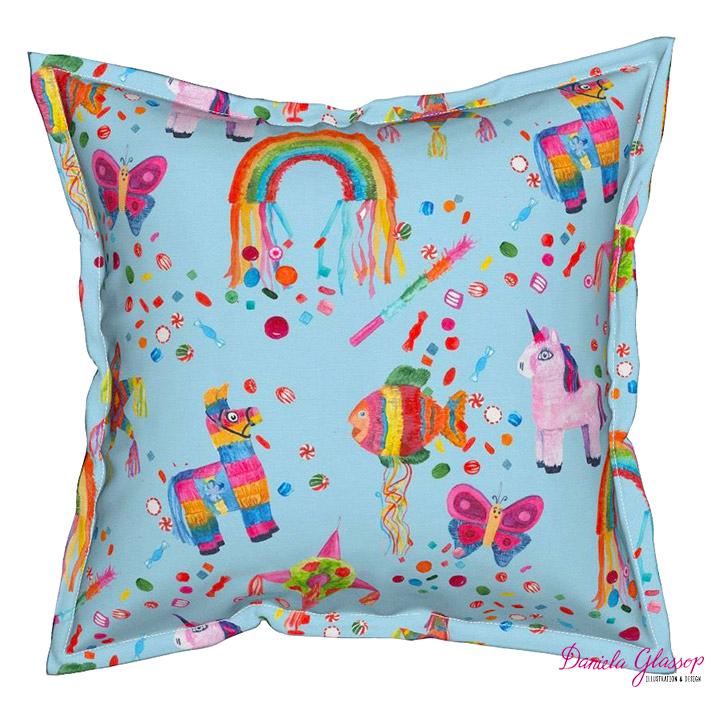 Serama-Throw pillow with flange detail -  Pinata Fun ©Daniela Glassop