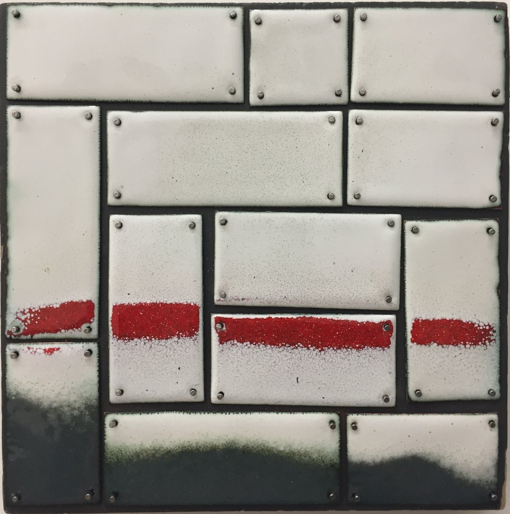 "Red Horizon   kiln     enamel on copper 5""x 5"" 2018"