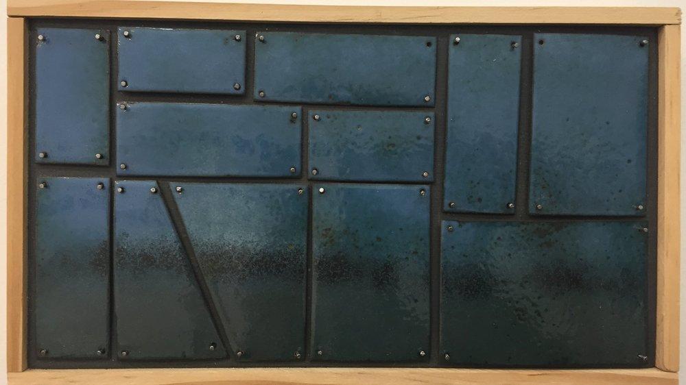 """Landscape Study in Blue   kiln     enamel on copper 5""""x 7"""" 2018"""