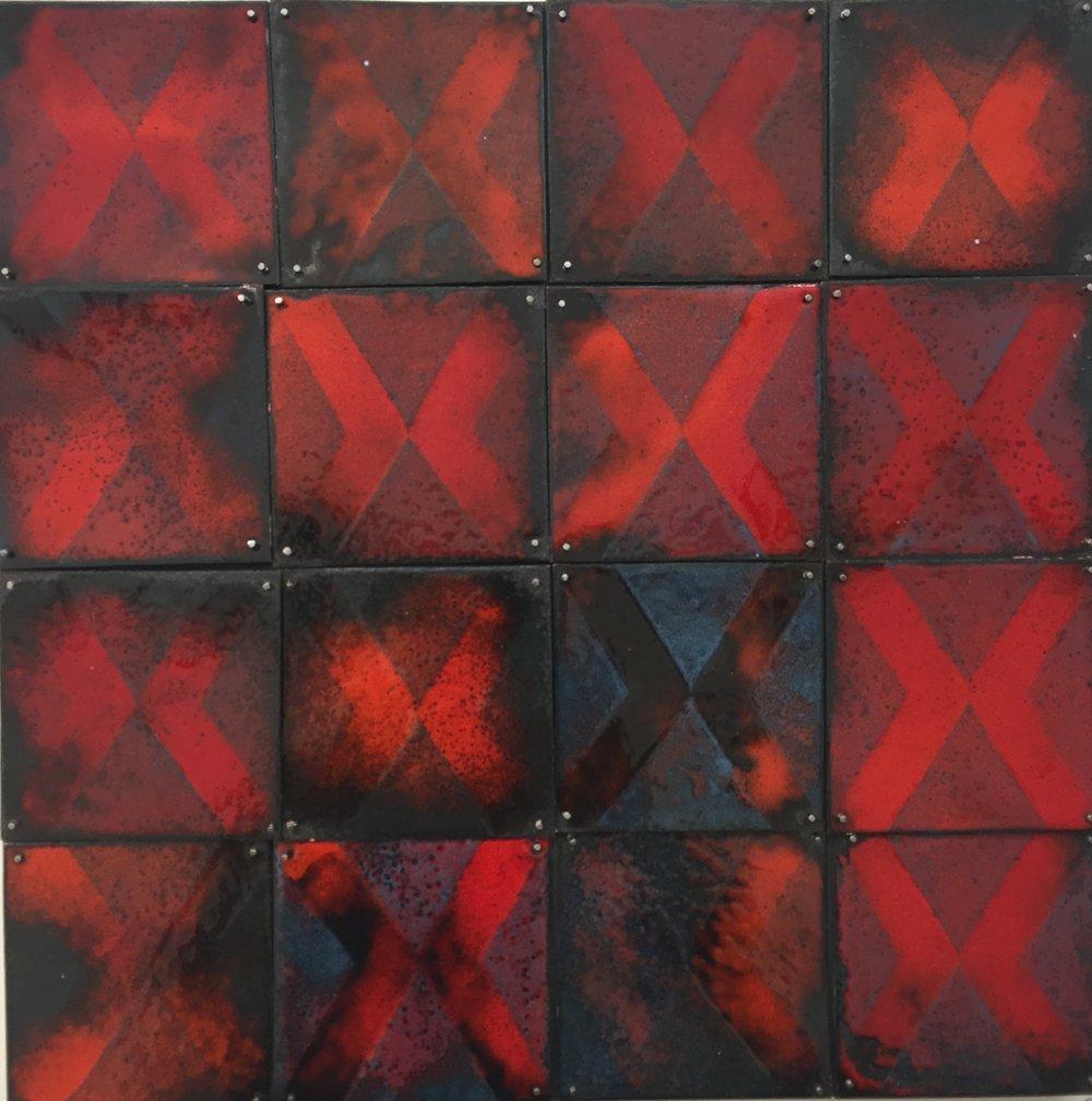 """Red X   kiln enamel on copper 8'x8"""" 2108"""